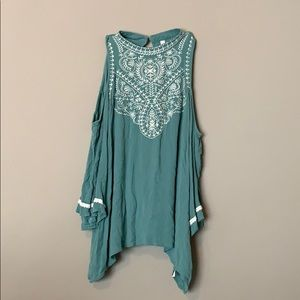 Cold shoulder turquoise blouse - XL - embroidered
